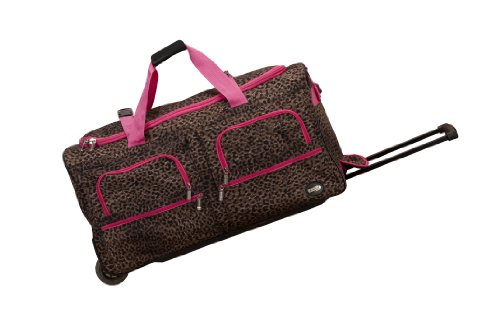 Rockland Rolling Duffel Bag, Pink Leopard
