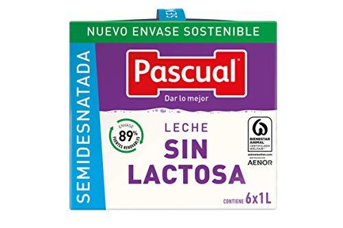 Pascual Leche Sin Lactosa Semidesnatada - Paquete de 6 x 1000 ml - Total: 6000 ml