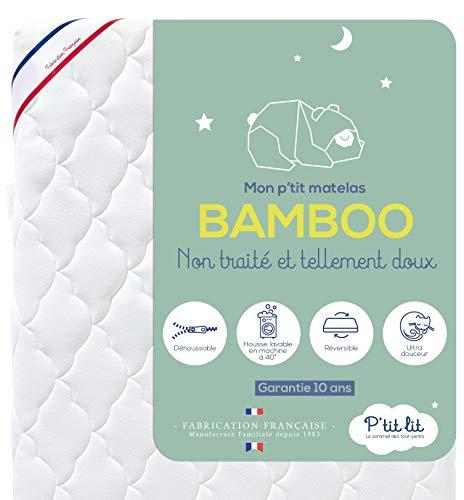 P'TIT LIT - Matelas Bébé Bamboo - 60x120 cm - Viscose Douce et Absorbante - sans Traitement...