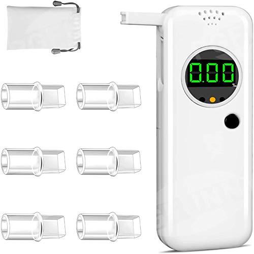 PGFUNNY Alcoholtester, professionele ademalcoholtester, nauwkeurige draagbare halfgeleidersensor, digitaal lcd-display, nauwkeurige alcoholtester met 6 mondstukken en 1 stoffen tas