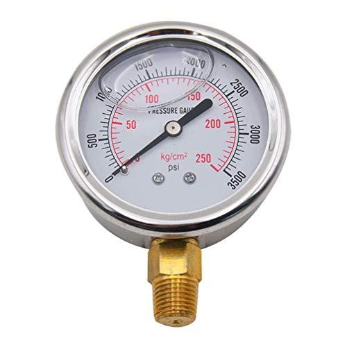 Balacoo Flüssigkeitsgefülltes Manometer aus Edelstahl 0-3500 Psi Zur Messung Des Wassergasdrucks