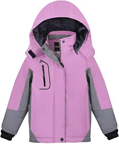 MORCOE Girls' Waterproof Fleece Ski Jacket Outdoor Winter Outerwear Windproof Mountain Snow Snowboarding Coat with Hood(Purple+Grey,10/12)