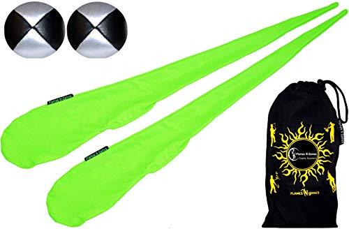 Flames N Games Pro Socken–Cariocas Set (UV Verde) Sock POI (Incluye 2x Beanbags pelotas) + Bolsa de viaje. Swinging POI y Spinning Pois. POIS para principiantes y profesionales.