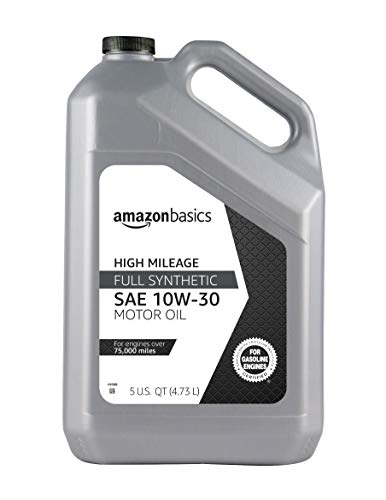 AmazonBasics High Mileage Motor Oil - Full Synthetic - 10W-30 - 5 Quart