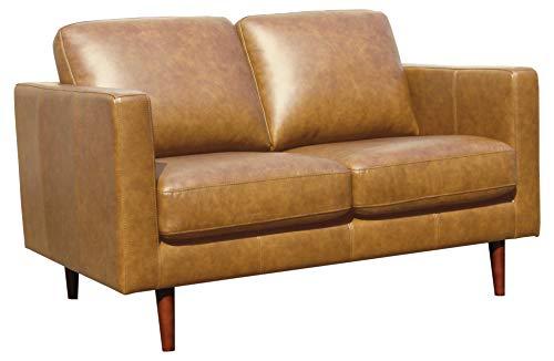 Rivet Revolve Modern Leather Loveseat Sofa, 56'W, Caramel