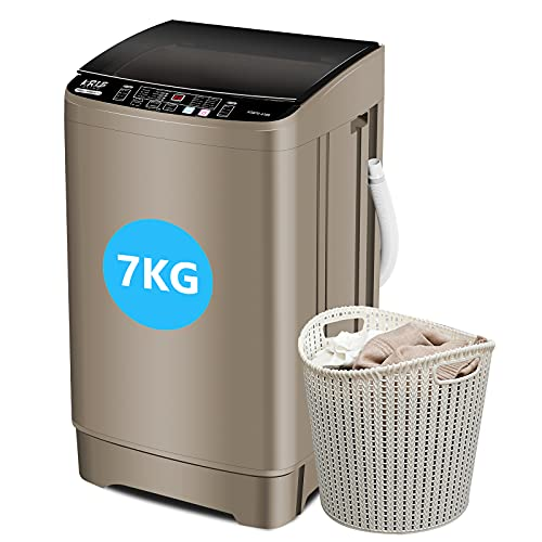 Full-Automatic Washing Machine 15.4lbs, Krib Bling Portable Compact Laundry Washer with Drain Pump, 10 Wash Programs 8 Water Levels with LED Display