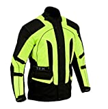Texpeed Black & Hi-Vis Waterproof Armoured Motorcycle/Motorbike Jacket - Sizes M-10XL