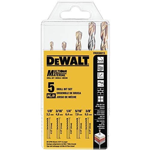 DEWALT DWA56015 Multi-Material Drill Bit Set, 5-Piece