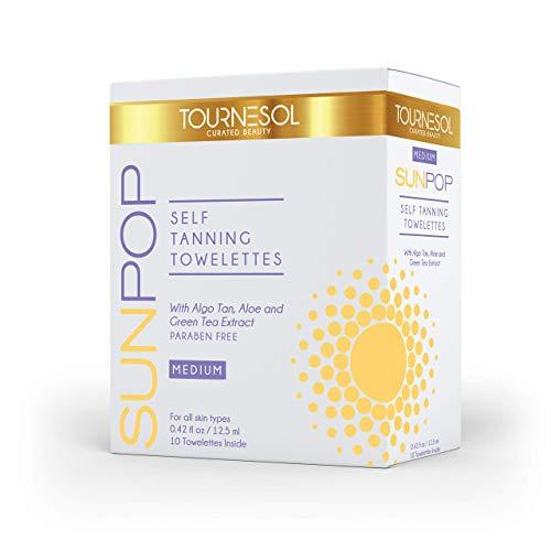 SunPop Self Tanning Towelettes 10-count (Medium) - Aloe Vera & Green Tea Infused Self Tanning Body Wipes - Best Sunless Self Tanner - Best Full Body & Face Tanner - Easy Streak Free Application