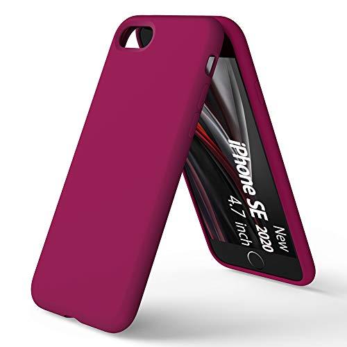 ORNARTO Funda Silicone Case para iPhone SE(2020), Protección de Cuerpo Completo,iPhone 7/8 Carcasa de Silicona Líquida Suave Antichoque Bumper para iPhone 7/8/ SE(2020) 4,7 Pulgadas-Vino Rojo