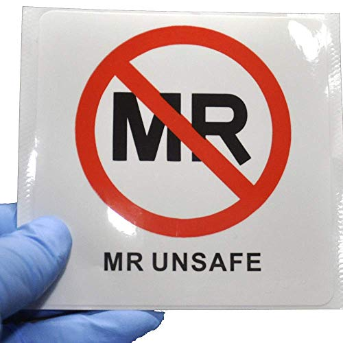 10-Pack MR Unsafe Label MRI Unsafe Vinyl Sticker for Radiology 4 x 4 inch Medium Waterproof Disinfectable IEC 62570:2014 / ASTM F2503 Compliant