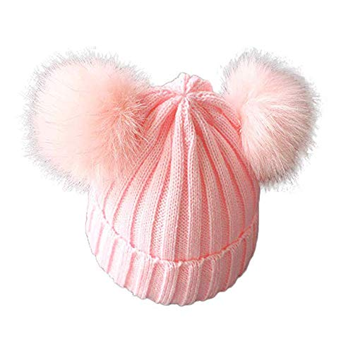 Berretto Bambino Bambina Autunnale Invernale Cappello Caldo Morbido con Pompon Lavorato a Maglia per Bimbi 1-3 Anni (Rosa, 1-3 anni)