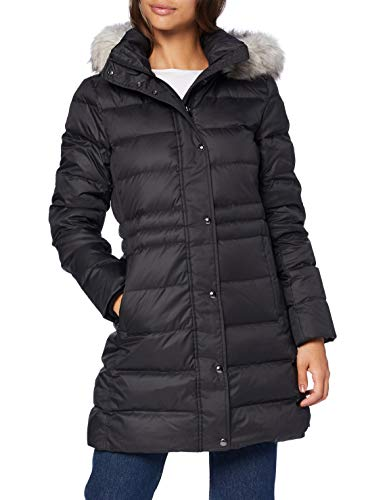 Tommy Hilfiger Damen Th ESS Tyra Down Coat with Fur Jacke, Black, XS