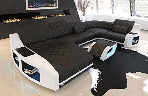 Leder Sofa Wohnlandschaft Swing U Form Couch mit USB Anschluss und Ottomane (Weiss, Büffelleder)