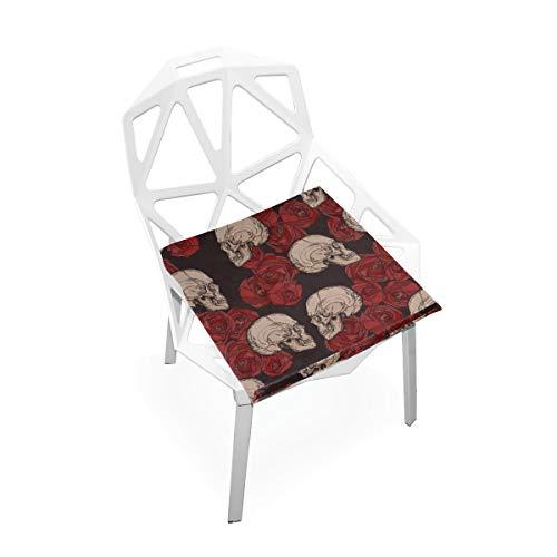 Cojines de asiento de espuma de memoria Calaveras góticas vintage y rosas...
