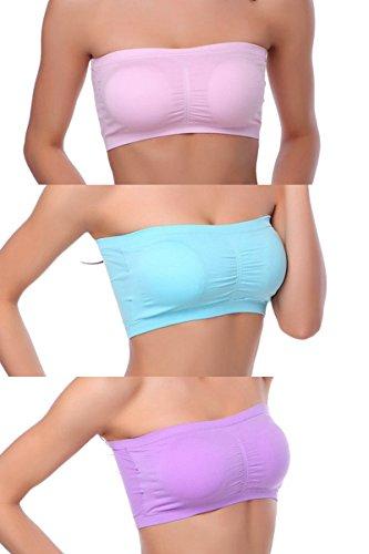 Women's Plus Size Brallete Bandeau Bra Strapless Seamless Tube Top Bras 3 Pack By Gemijack