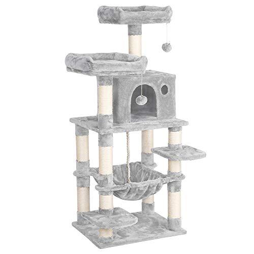 Yaheetech Stabiler Kratzbaum mit Sisal-Kratzstangen Hängematte, Höhle, Spielsisal 147 cm Kletterbaum für Katzen