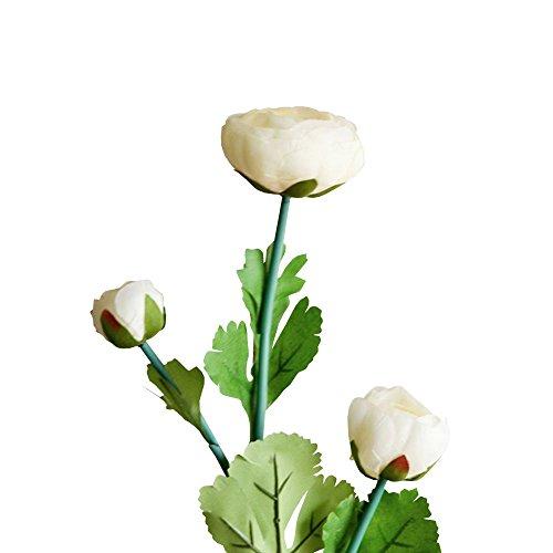 Jia HU Lot de 1 tête de fleurs artificielles Pivoine de 3 Pivoine arrangements plantes d'intérieur Décoration extérieure jaune