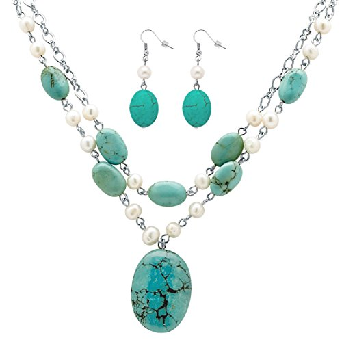 Palm Beach Jewelry Silver Tone Genuine Cultured Freshwater Pearl and Oval Genuine Green Turquoise, Necklace and Earring Set, 17 inches Plus