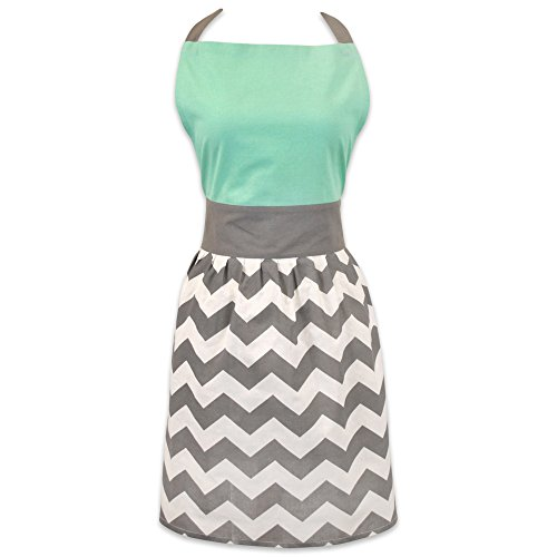 DII Women's Adjustable Cooking Apron Dress with Extra Long Ties, 31 x 28', - Chevron
