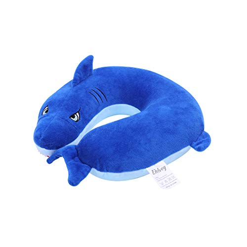 Blue Shark Travel Pillow Comfortable Memory Foam Neck Support Pillow for Kids Toddlers 100% Polyester