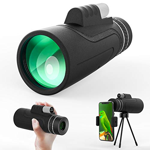 Monoculars for Adults 12x50 High Power Monocular Telescope with Tripod Smartphone Holder Best Gifts for Bird Watching Hunting Camping Travelling Sightseeing Sports and Concerts
