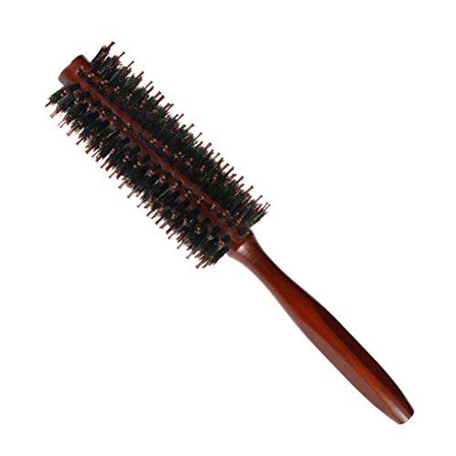 FRCOLOR Poils de sanglier brosse ronde peigne avec poignée en bois Twill Roll peigne brosse à cheveux pour le séchage des cheveux, le style, le curling (Twill 10)