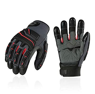 Vgo 3Pairs Full Grain Cowhide Leather Heavy Duty Mechanic Work Gloves, Touchscreen Compatible (Size XL, Red, CA9730HL)