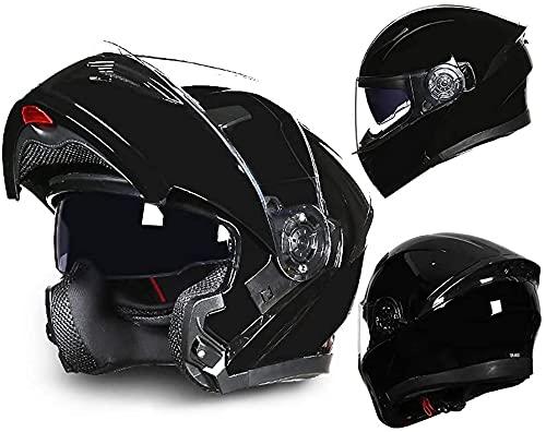 GPFFACAI Casco Integral Moto mujerCasco abatible de Motocicleta, Casco de Scooter con Visera Doble antivaho, Casco de Scooter, Casco de ciclomotor(Size:Medium)