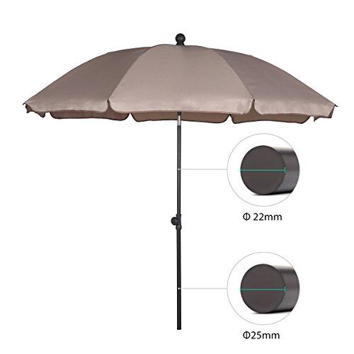 Sekey® Sonnenschirm 200 cm Marktschirm Gartenschirm Terrassenschirm Taupe Rund Sonnenschutz UV25+ - 2