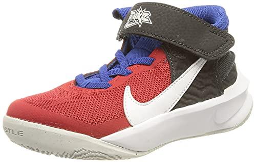 Nike Team Hustle D 10 FlyEase Basketballschuh, Off Noir/White-University Red-Game Royal, 35 EU