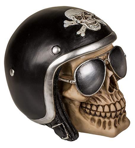 MIK Funshopping Spardose Sparbüchse Im Totenkopf-Design (Schädel mit schwarzem Motorradhelm)