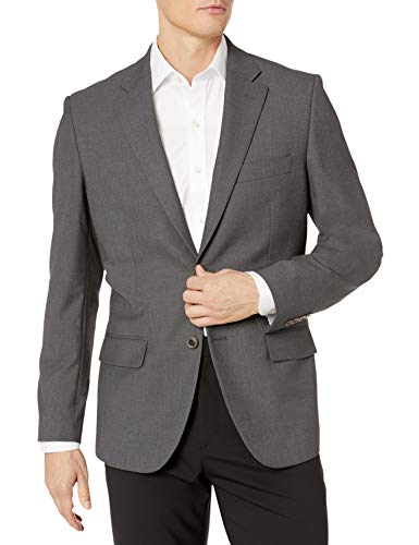 Amazon Essentials Men's Long-Sleeve Classic-fit Button-Front Stretch Blazer, Charcoal, 46