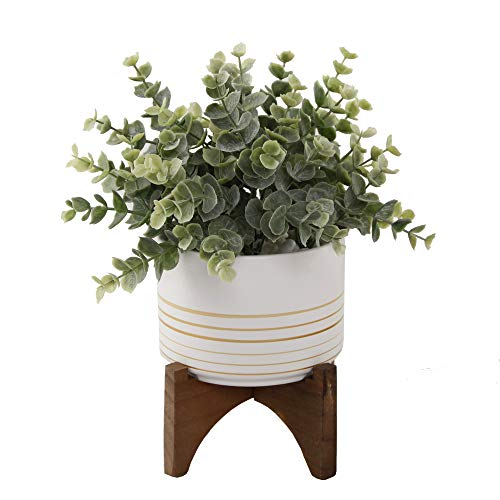 Flora Bunda Artificial Succulent Faux Plant Eucalyptus in 4.75' Ceramic Pot on Wood Stand,Eucalyptus 4.75' White & Gold Lines, for Desk, Office, Living Room, and Home Decoration