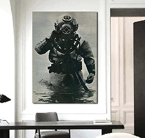 Exploración de buceo en aguas profundas Arte de la pared Posters Lienzo Arte de la pared Impresión de imágenes Arte de la pared para la decoración de la sala de estar Regalo -60x80cm Sin marco
