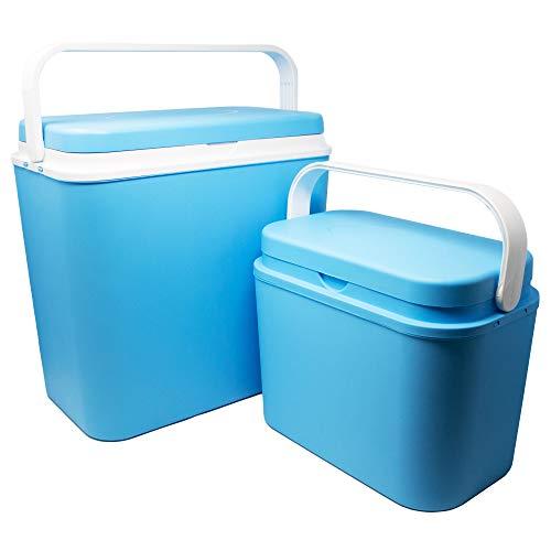 ToCi 2er Set Kühlboxen | Passive Kühl-Box mit 10 Liter und 24 Liter | Camping Kühltaschen in Blau-Weiß