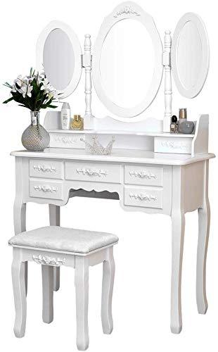 Iglobalbuy Tocador, Escritorio de Maquillaje con Taburete, Mesa de cosmética Blanca con Espejo para el Dormitorio (BDT1217)
