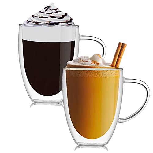 Doppelwandige Latte Macchiato Gläser Set,Trinkgläser, Kaffeeglas,Teegläser, Cappuccino Gläser, Durchsichtige Tassen aus Borosilikatglas (350ml-2er set)