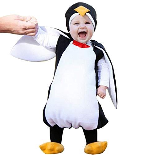 VICGREY Costume per Travestimento da Pinguino, Bambini Pagliaccetto Caldo,Ragazze Ragazzi Pagliaccetto Felpa con Cappuccio Addensare Snowsuit Inverno Infantile Romper+Manicotto del Piede