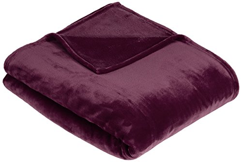 Amazon Basics - Coperta Vellutata in Pile, 229 x 274cm, colore Melanzana