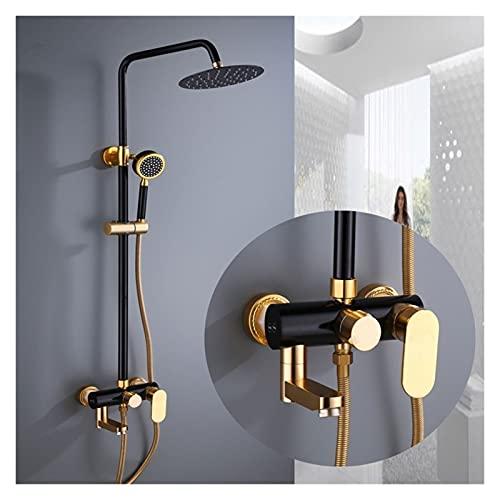 DNAN Juego de Ducha para el hogar Columna de Ducha de baño Europea de Tercer Engranaje Grifo sobrealimentador de Pared para Agua Caliente y fría (Color : Black Gold)