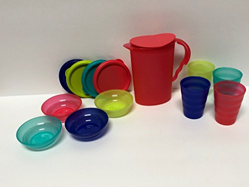 Tupperware Impressions 9 Piece Mini Set In Tokyo Blue, Parrottfish, Emberglow, Salsa Verde