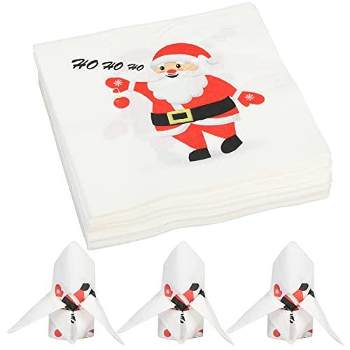 TGFIX 40 piezas de servilletas de papel navideñas, patrón de Papá Noel, servilletas de papel navideñas para fiesta, cena,...