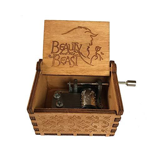 Caja música manivela madera tallada antigua, caja