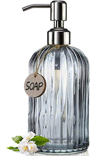 JASAI 18 Oz Vertical Stripes Kitchen Soap Dispenser with 304 Rust Proof Stainless Steel Pump, Refillable Liquid Soap Dispenser for Bathroom, Kitchen, Hand Soap, Dish Soap (Clear Grey)