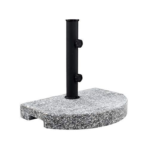 Butlers The Rock Schirmständer halbrund 40x28x33 cm - Sonnenschirmständer aus schwarzem Stahl 15 kg - Granit-Standfuß