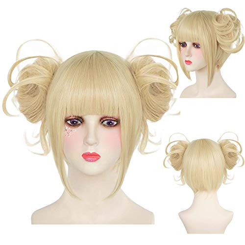 IMEYLE Wig Light Blonde Anime Cosplay Hair Wig and 2 Detachable Buns Clips Short Straight Wig With Bangs Synthetic Wig For Costume Halloween Party