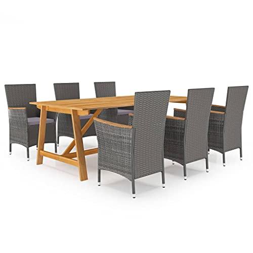 vidaXL Gartenmöbel Set 7-TLG. Sitzgruppe Sitzgarnitur Gartenset Gartengarnitur Tisch Stühle Gartentisch Gartenstuhl Esstisch Gartensessel Grau