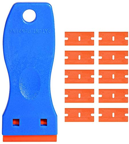 Mini Size Plastic Razor Blade Scrapers Double Edge Decals Paint Labels Scraper Removal Tool with 10 Pack Replacement Blades for Auto Window Glass Tint Vinyl Sticker Removal (Scraper with 10 Blades)