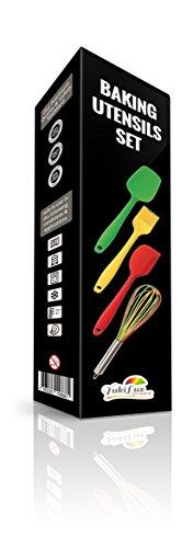 YukiLux Lot de 4 ustensiles de cuisine en silicone avec manche long, thermorésistant, spatule, pagaie de cuisine, fouet, pinceau, silicone 100 % alimentaire sans BPA et approuvé par la FDA, 12 mois